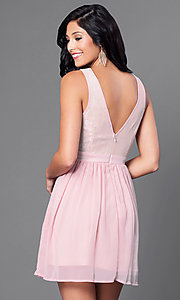 Image of short lace-bodice party dress with side cut outs. Style: LP-23103 Back Image