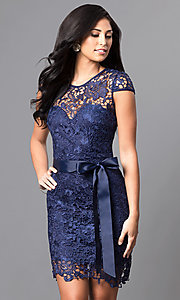 Image of short cap-sleeve semi-formal lace dress with bow. Style: LP-23605 Front Image