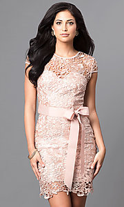 Image of short cap-sleeve semi-formal lace dress with bow. Style: LP-23605 Detail Image 1