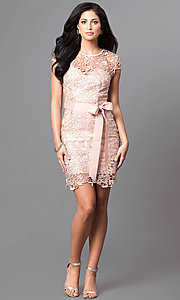 Image of short cap-sleeve semi-formal lace dress with bow. Style: LP-23605 Detail Image 2
