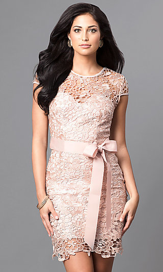 Short Cap-Sleeve Semi-Formal Lace Dress with Bow