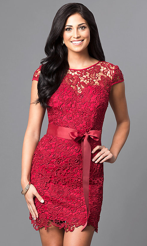 Image of short cap-sleeve semi-formal lace dress with bow. Style: LP-23605 Detail Image 3