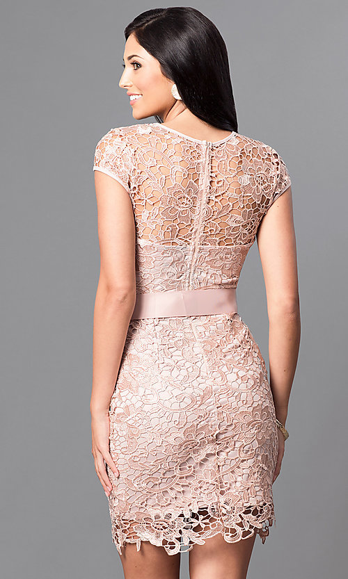 Image of short cap-sleeve semi-formal lace dress with bow. Style: LP-23605 Back Image