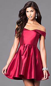 Image of off-the-shoulder short satin homecoming party dress. Style: LP-24049 Detail Image 3
