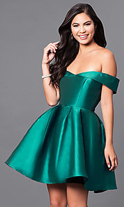 Image of off-the-shoulder short satin homecoming party dress. Style: LP-24049 Detail Image 5