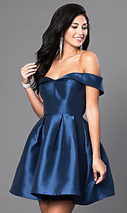 Image of off-the-shoulder short satin homecoming party dress. Style: LP-24049 Front Image