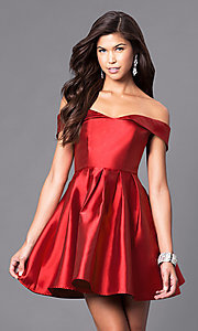 Image of off-the-shoulder short satin homecoming party dress. Style: LP-24049 Detail Image 1