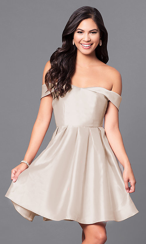 Image of off-the-shoulder short satin homecoming party dress. Style: LP-24049 Detail Image 4