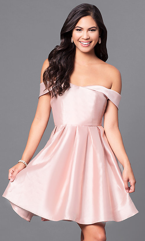 Image of off-the-shoulder short satin homecoming party dress. Style: LP-24049 Detail Image 2