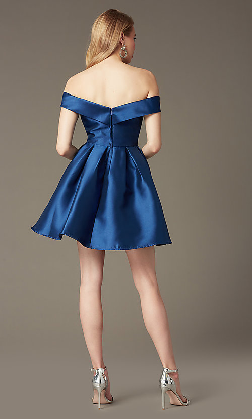 Image of off-the-shoulder short satin homecoming party dress. Style: LP-24049 Back Image