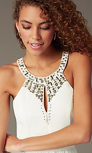 Image of short beaded-bodice party dress with front keyhole. Style: LP-23701 Detail Image 1
