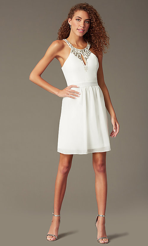 Image of short beaded-bodice party dress with front keyhole. Style: LP-23701 Front Image