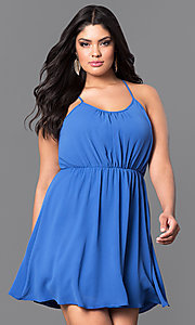Image of short plus-size casual party dress with racerback. Style: TR-CD12125-2P Front Image