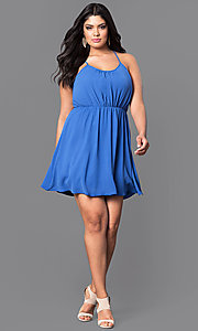 Image of short plus-size casual party dress with racerback. Style: TR-CD12125-2P Detail Image 1