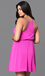 Image of short plus-size casual party dress with racerback. Style: TR-CD12125-2P Back Image