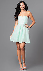 Image of short pastel lace party dress with strapless bodice.  Style: MT-7181 Detail Image 3