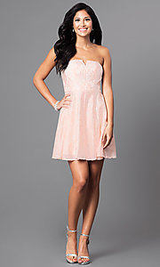 Image of short pastel lace party dress with strapless bodice.  Style: MT-7181 Detail Image 2