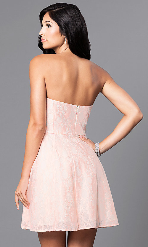 Image of short pastel lace party dress with strapless bodice.  Style: MT-7181 Back Image