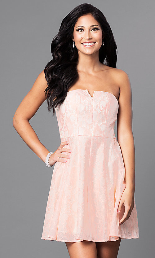 Image of short pastel lace party dress with strapless bodice.  Style: MT-7181 Front Image