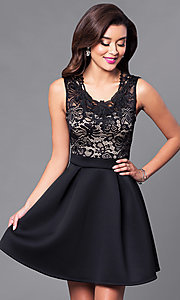 Image of short homecoming party dress with lace bodice. Style: DC-44471 Front Image