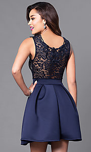 Image of short homecoming party dress with lace bodice. Style: DC-44471 Back Image