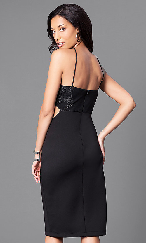 Image of black knee-length party dress with side cut outs. Style: JU-49272 Back Image