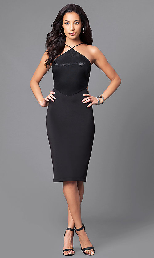 Image of black knee-length party dress with side cut outs. Style: JU-49272 Detail Image 1