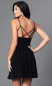 Image of camisole a-line short party dress with open back. Style: CH-2790 Back Image