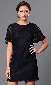 Image of short lace party dress with short flutter sleeves. Style: MB-6581 Detail Image 1
