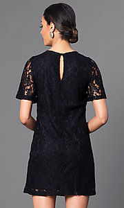 Image of short lace party dress with short flutter sleeves. Style: MB-6581 Back Image