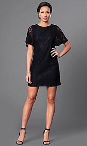 Image of short lace party dress with short flutter sleeves. Style: MB-6581 Detail Image 2