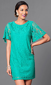 Image of short lace party dress with short flutter sleeves. Style: MB-6581 Detail Image 3