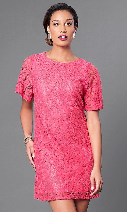 Image of short lace party dress with short flutter sleeves. Style: MB-6581 Front Image
