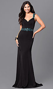 Image of sheer-back long black formal prom dress with beads. Style: MF-E2065 Front Image