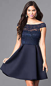 Image of short navy blue lace-bodice semi-formal dress. Style: CL-44501 Front Image