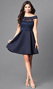 Image of short navy blue lace-bodice semi-formal dress. Style: CL-44501 Detail Image 1