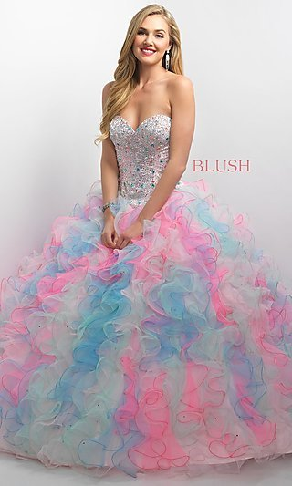 Corset Back Ruffled Tulle Quinceanera Gown