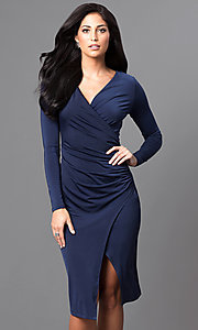Image of long-sleeve mock-wrap knee-length career dress. Style: MB-7107 Front Image