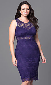 Image of fitted short lace plus-size cocktail party dress.  Style: MB-MX1349 Front Image