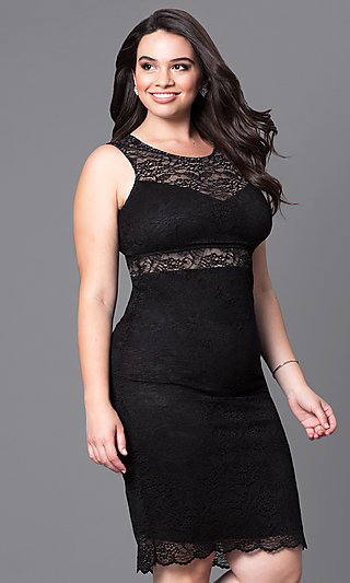 Fitted Short Lace Plus-Size Cocktail Party Dress