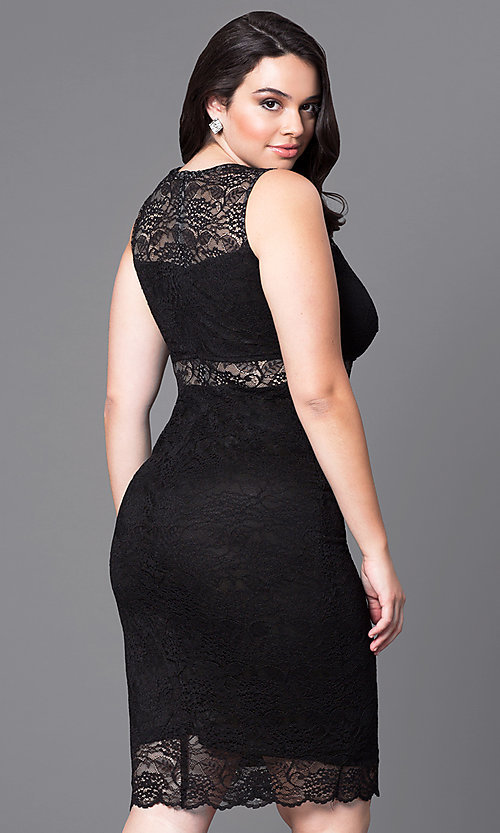 Image of fitted short lace plus-size cocktail party dress.  Style: MB-MX1349 Back Image