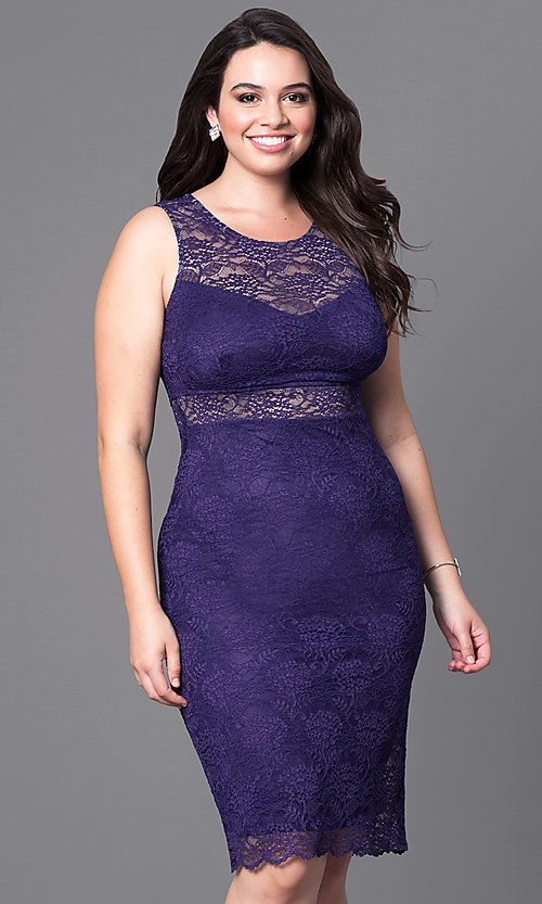 Illusion-Lace Plus-Size Holiday Party Dress