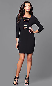Image of three-quarter sleeve short cut-out party dress. Style: SY-ID3796AP Detail Image 1