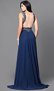 Image of floor-length sheer-embroidered formal gown. Style: DQ-9429 Back Image