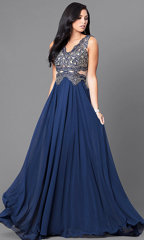 Image of floor-length sheer-embroidered formal gown. Style: DQ-9429 Front Image