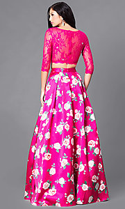 Image of two-piece prom dress with pockets and floral print. Style: DQ-9452 Back Image