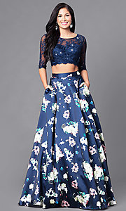 Image of two-piece prom dress with pockets and floral print. Style: DQ-9452 Front Image