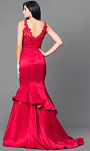 Image of formal long mermaid prom dress with sequined lace. Style: DQ-9457 Back Image