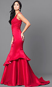 Image of formal long mermaid prom dress with sequined lace. Style: DQ-9457 Detail Image 1