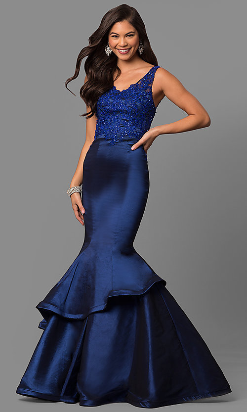 Image of formal long mermaid prom dress with sequined lace. Style: DQ-9457 Detail Image 3